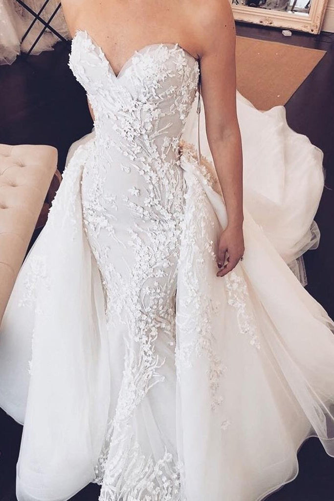 Sweetheart Mermaid Strapless Lace Appliques Wedding Dress with Detachable Train PW934