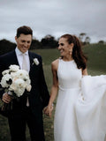 Simple Round Neck Satin Ivory Wedding Dresses with Pockets, Long Wedding Gowns W1199