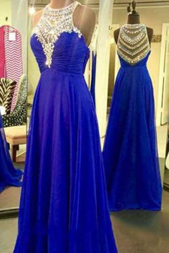 Royal Blue Sparkle Beads Halter Pretty Illusion High Neck Chiffon Prom Dresses uk PM405