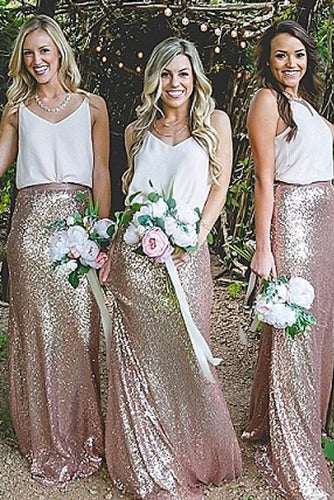 Elegant Sheath V-Neck Straps Sequined Floor-Length A-Line Sleeveless Bridesmaid Dresses PH294
