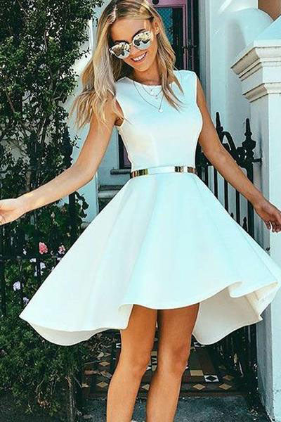 High Low Bateau Sleeveless High Neck White Satin Above Knee Homecoming Dress PM339