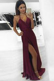 Sexy A-line Halter Burgundy V-Neck Backless Slit Sleeveless Long  Evening Prom Dresses uk PM739