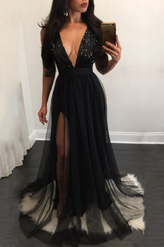 Elegant A Line Sequins Black Tulle V Neck Mesh Patchwork Pleated Maxi Prom Dresses PH629