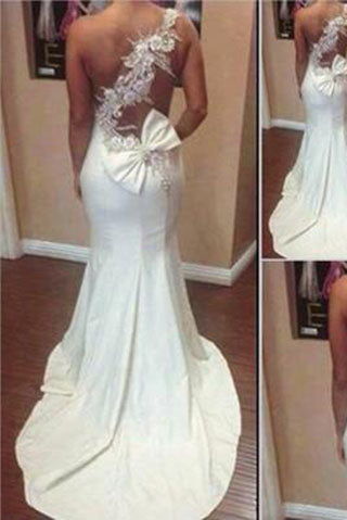 Graceful Mermaid One Shoulder Sweetheart Sleeveless Sexy Long White Satin Prom Dresses uk PH08