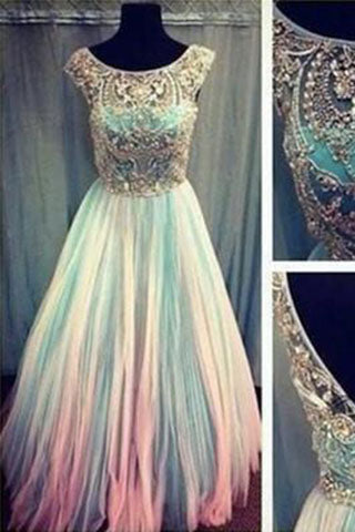 Unique Custom Ball Gown Long Scoop Backless Beaded Bodice Tulle Long Prom Dresses uk PH67