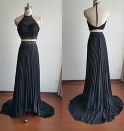 Gorgeous Halter Court Train Two Pieces Black Beads Chiffon Backless Prom Dresses uk PM776