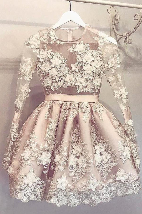 Hand-Made Flower Short Long Sleeves Appliques Lace Cute Prom Dress Homecoming Dress PM246