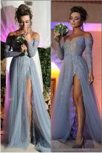 Charming Off the Shoulder Appliques Grey Long-Sleeves Evening Dress Elegant Prom Gowns PH79