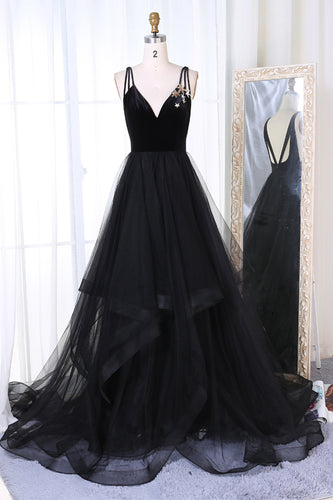New Arrival A-Line V-Neck Black Velvet Up Tulle Backless Sleeveless Long Prom Dresses UK PH333