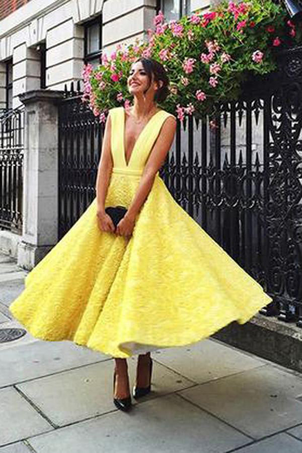 fd0ad2eb454 A-Line Deep V-Neck Cute Yellow Tea Length Sleeveless Open Back Lace Prom · Homecoming  Dresses · Short Prom Dresses