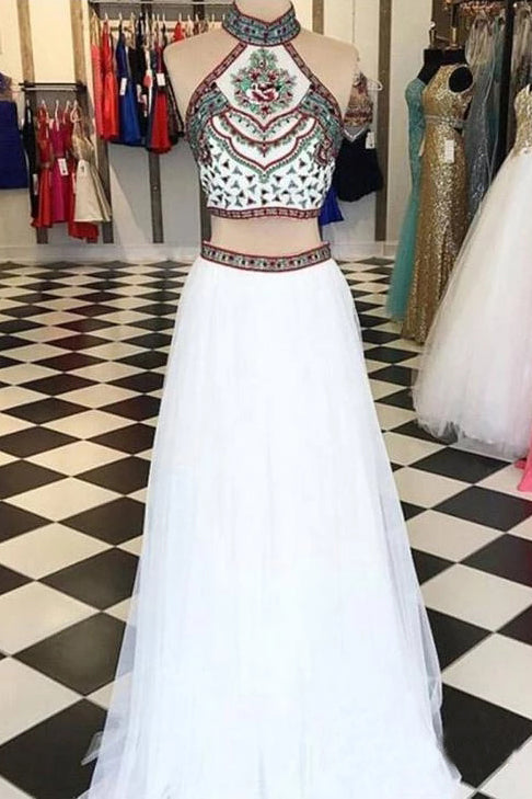 Elegant Two Piece Halter Embroidered Boho Prom Dresses White A Line Long Formal Dresses P1103