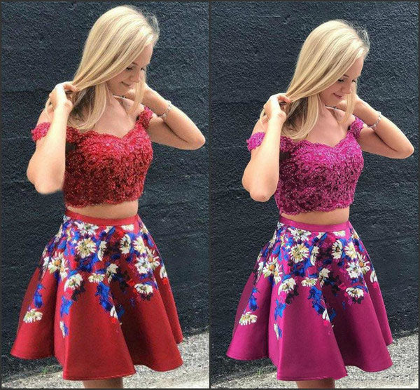 Two Pieces Burgundy Satin Off the Shoulder Homecoming Dresses with Embroidery H1187