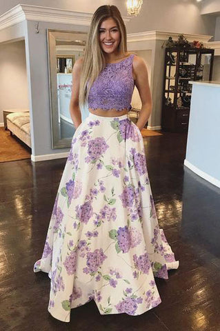 Two Pieces Floral Print Top Lace Purple Prom Dresses, Scoop Party Dresses with Pockets P1060