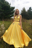 Two Pieces Halter Open Back Yellow Prom Dresses Beads Evening Dresses with Pockets P1121