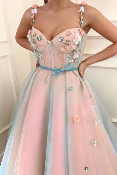 Stunning Applique A-Line Spaghetti Straps Tulle Sweetheart Prom Dresses with Belt P1220