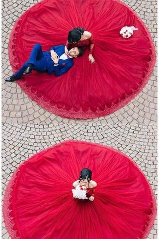 Modest Quinceanera Dress,Red Ball Gown Fashion Sexy Custom Made Evening Dress PM752