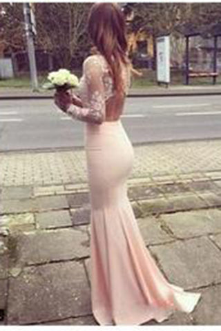 Modest Prom Dress,High Neck Lace Pink evening dress,Long Open Back Prom Dresses UK PM641