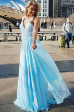 Elegant A-Line Deep V-Neck Blue Chiffon Sequins Sleeveless Prom Dresses UK PH521