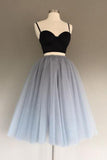 Two Pieces Black and Silver Short Tulle Sweetheart Spaghetti Strap Homecoming Dress PM200