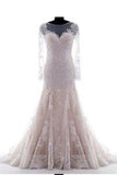 Mermaid Scoop Champagne Lace Appliques Long Sleeves Zipper up Wedding Dress PM644