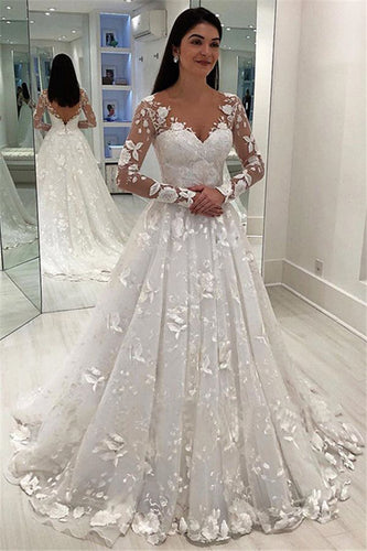 Unique Appliques V-Neck A-Line Long Sleeves Wedding Dress V Back Bridal Dresses PW474