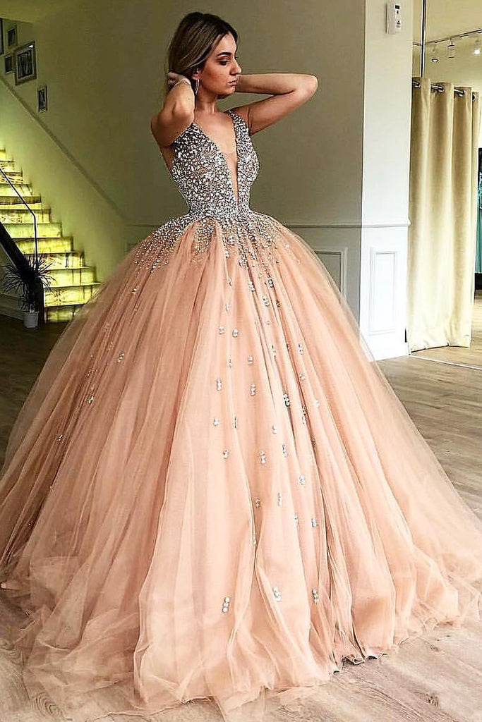 Unique Ball Gown V Neck Sleeveless