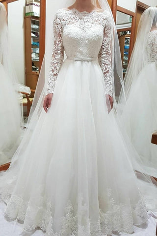Unique Bateau Lace and Tulle Wedding Dresses Long Sleeves Bridal Dresses PW656