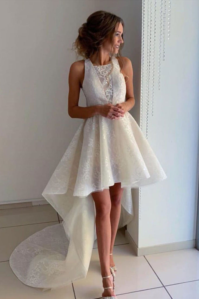 Unique Ivory Halter High Low Homecoming Dresses with Lace, Short Prom Dresses H1095