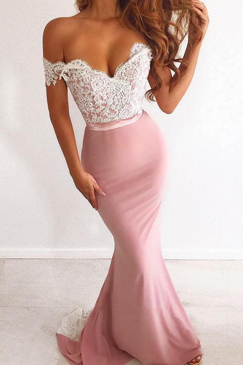 Unique Pink Off the Shoulder Mermaid Lace Long Prom Dresses Cheap Party Dresses P1127