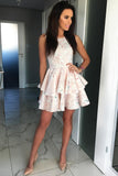 Unique Satin Layer Pink Above Knee Scoop Short Homecoming Dresses Dance Dresses H1257