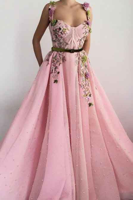 Unique Sweetheart Spaghetti Straps Prom Dresses with Flowers Pockets PW751