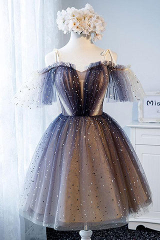 Unique Tulle Off the Shoulder Short Prom Dresses, Lace up Homecoming Dresses PW940
