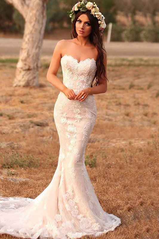 Charming Mermaid Lace Applique Sweetheart Sleeveless Wedding Dresses, Country Bridal Dresses W1166