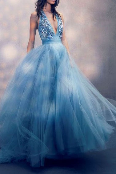 Sexy A Line Deep V Neck Tulle Prom Dresses with Sequins, Long Formal Dresses P1378