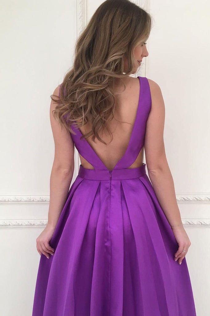 A-line V-Neck Satin Long Simple Backless with Pockets Purple Sleeveless Prom Dresses uk PM312