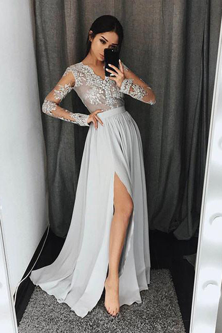 Stylish A-Line V-Neck Long Sleeves Split Front Gray Chiffon Long Prom Dresses uk PM327