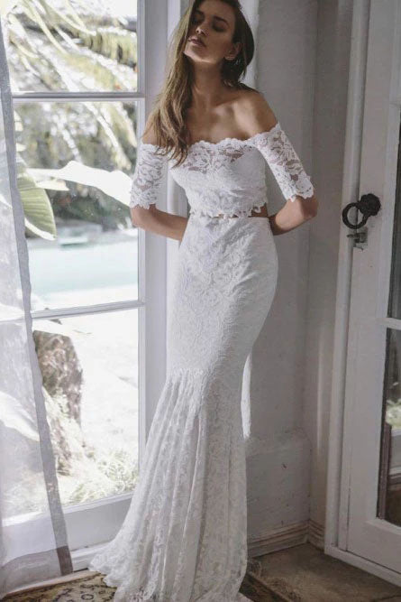 2 Pieces Ivory Lace Mermaid Off the Shoulder Wedding Dresses, Beach Wedding Gowns W1199