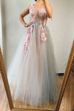 A line V neck Beads Pink Long Tulle Prom Dresses With Floral, Formal Dresses P1335