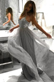 Flowy A Line Spaghetti Straps Grey Tulle Long Prom Dresses Cheap Dance Dresses P1166