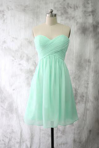 Mint Chiffon Homecoming Dresses, Short Bridesmaid Dresses