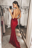 Burgundy Sequins Mermaid Long V Neck Backless Prom Dresses, Formal Dresses P1469