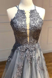 A Line Spaghetti Straps Lace Silver Long Prom Dresses with Applique Open Back Party Dresses P1294