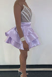 V Neck Purple Strapless Homecoming Dresses, Satin Sequins Above Knee Short Prom Dress H1096