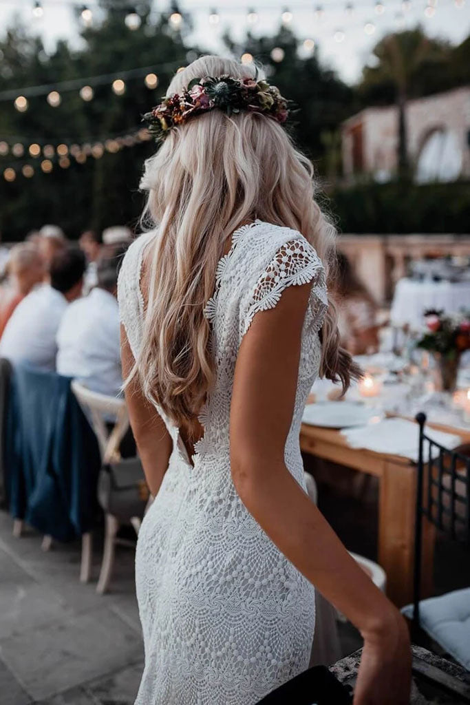 Vintage Backless Lace Boho Mermaid Wedding Dresses Cap Sleeve Bohemian Bridal Gowns W1060