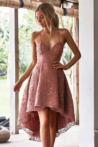 Vintage Dusty Rose High Low Lace Homecoming Dresses with Pocket, V Neck Short Prom Dress PW952