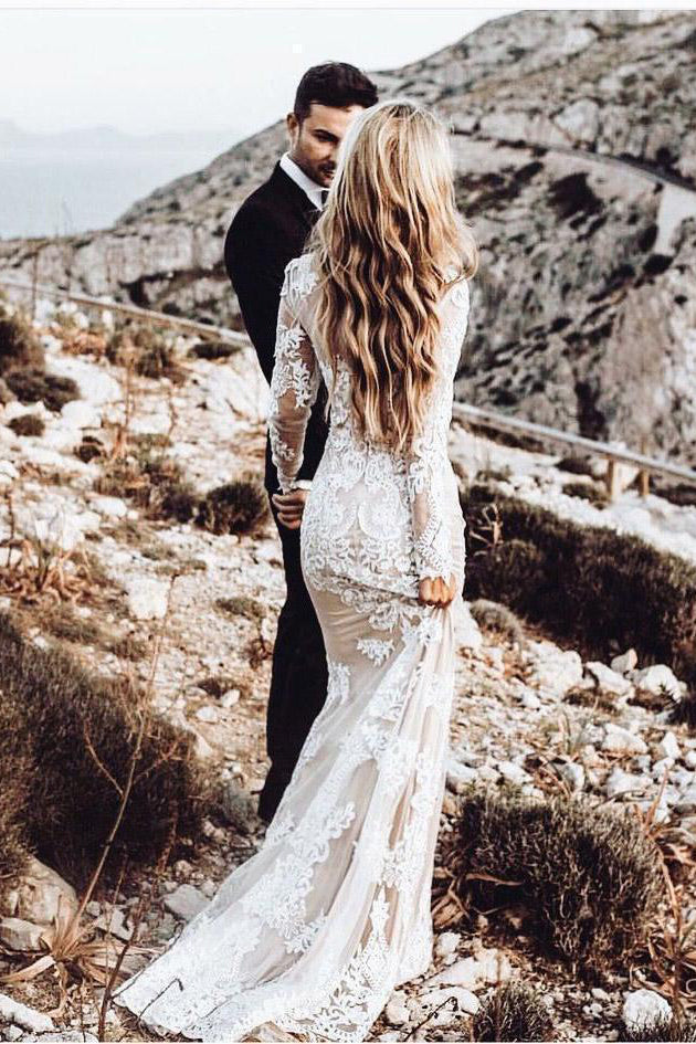 Vintage Lace Applique Long Sleeve Scoop Wedding Gowns Cheap Mermaid Wedding Dress Pw814