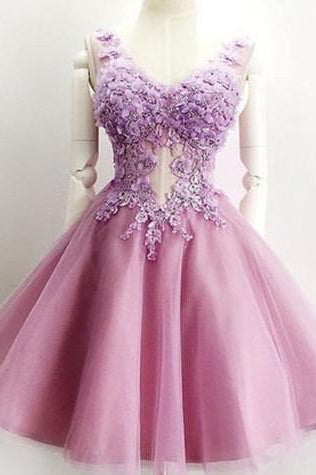 A Line V Neck Lace Appliques Lilac Short Beading Tulle Sleeveless Homecoming Dresses uk PH976