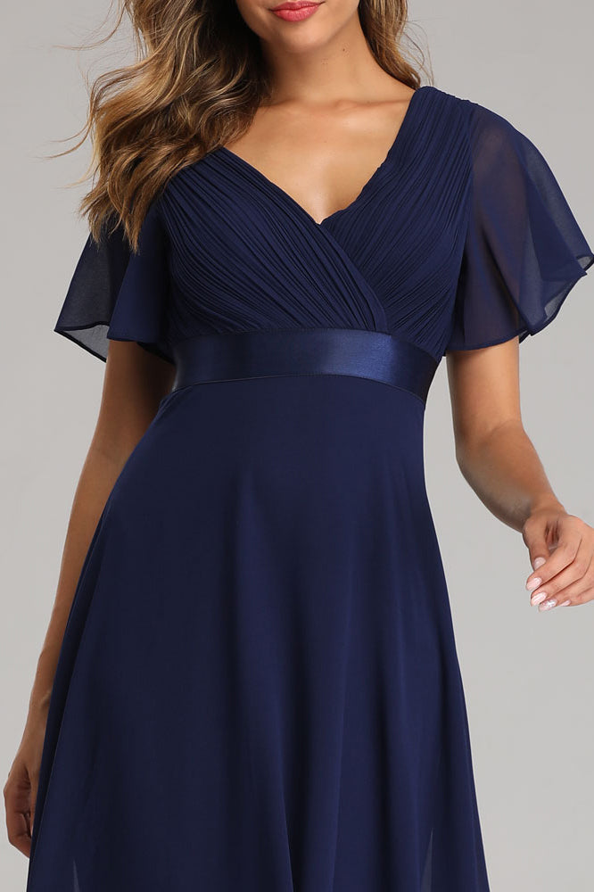 Flowy Chiffon Dark Navy Blue Prom Dresses V Neck Ruffled Sleeve Long Bridesmaid Dresses XU90812