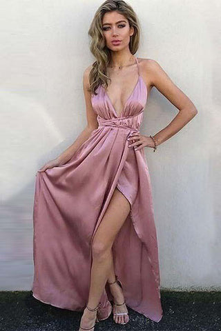 A-Line V Neck Criss Cross Back Blush Pink Satin Floor Length Prom Dresses uk with Split PW12