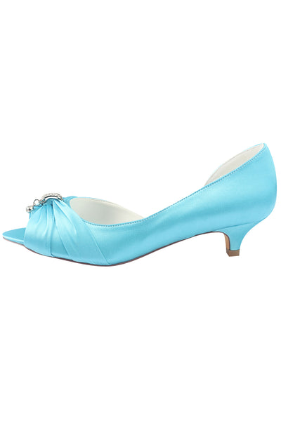 Sky Blue Peep Toe Beading Lower Heel Evening Shoes,Wedding Dresses uk L-924